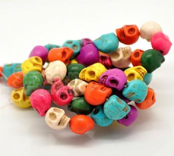 20 Turquoise (Howlite) Skull Head Beads   Assorted Colours
